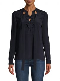 Sara Lace-Up Silk Blouse by Derek Lam at Saks Off 5th