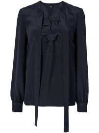 Sara Lace-Up Silk Blouse by Derek Lam at Farfetch