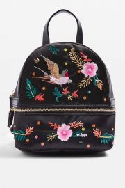 Satin Bird Embroidered Backpack at Topshop