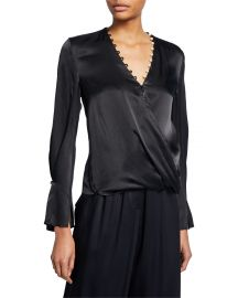 Satin High-Low Drape Blouse at Neiman Marcus
