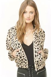 Satin Cheetah Print Bomber Jacket at Forever 21