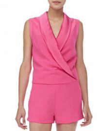 Satin-Collar Sleeveless Jumpsuit at Neiman Marcus