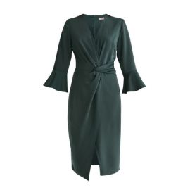 Satin Dress with Twisted Waist  Flared Cuffs by Paisie at Wolf and Badger