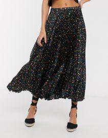 Satin Pleated Midi Skirt by ASOS at Asos