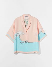 Satin Printed Oversize Shirt by Bershka at Bershka