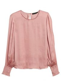 Satin Smocked-Sleeve Blouse at Banana Republic
