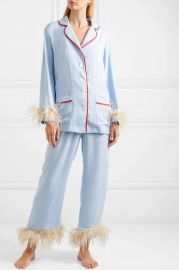 Satin and feather-trimmed crepe de chine pajama set at Net A Porter