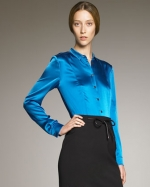 Satin blouse by Burberry at Neiman Marcus