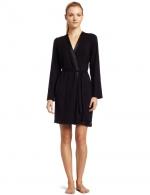 Satin trim robe in black by Calvin Klein at Amazon