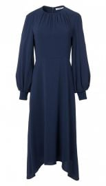 Savanna Crepe Shirred Neck Midi Dress at Tibi