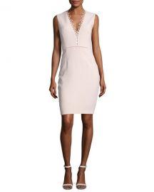 Saylah Sleeveless Lace-Trim Sheath Dress at Neiman Marcus