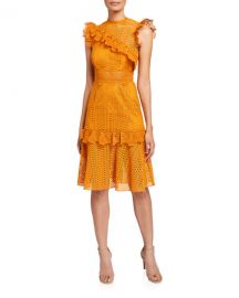 Saylor Ivy Sleeveless Lace Cocktail Dress with Ruffle Trim at Neiman Marcus