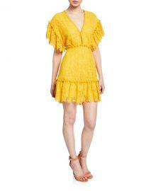Saylor Nanatte Floral Lace Ruffle Pompom Mini Dress at Neiman Marcus