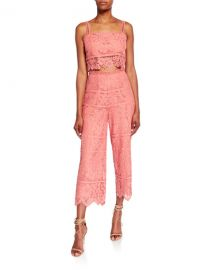 Saylor Willow Bold Floral Lace Set with Crop Top  amp  Cropped Pant at Neiman Marcus