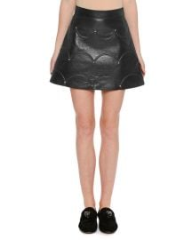 Scalloped Rockstud Leather A-Line Miniskirt at Neiman Marcus