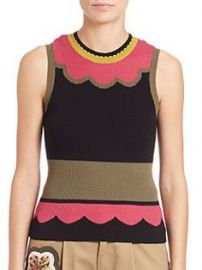 Scalloped Colorblock Knit Top at Saks Fifth Avenue