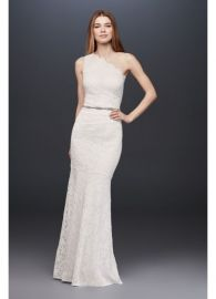 Scalloped One-Shoulder Lace Sheath Gown at Davids Bridal