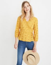 Scalloped eyelet wrap top at Madewell