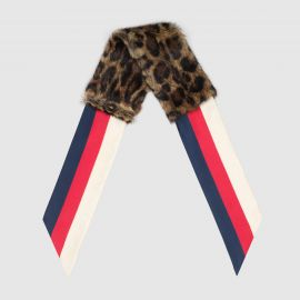 Scarf With Leopard Print Fur by Gucci at Gucci