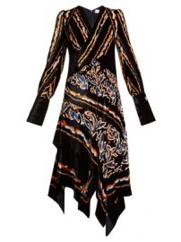 Scarf graphic-print velvet dress at Matches