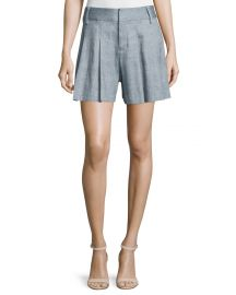 Scarlet High-Rise Chambray Flutter Shorts by Alice and Olivia at Neiman Marcus