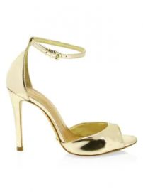 Schutz - Saasha Lee Metallic Leather Ankle-Strap Heels at Saks Fifth Avenue