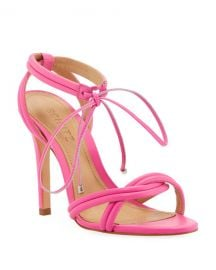 Schutz Yvi Twisted Leather Ankle-Tie Sandals at Neiman Marcus