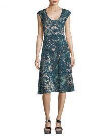 Scoop-Neck Floral Jacquard Cap-Sleeve Dress by M Missoni at Bergdorf Goodman