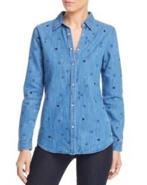 Scotch  amp  Soda Heart Embroidered Denim Shirt  Women - Bloomingdale s at Bloomingdales
