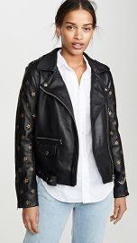 Scotch  amp  Soda Maison Scotch Leather Embroidered Star Sleeve Biker Jacket at Shopbop