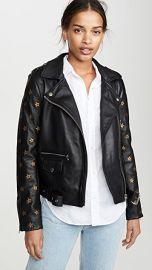 Scotch  amp  Soda Maison Scotch Leather Embroidered Star Sleeve Biker Jacket at Shopbop