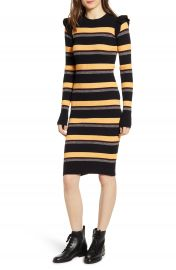 Scotch  amp  Soda Stripe Rib Long Sleeve Dress   Nordstrom at Nordstrom