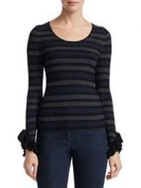 Scripted - Stripe Ruffle Cuff Sweater at Saks Fifth Avenue