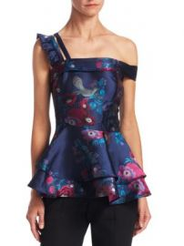Scripted - Floral Jacquard Peplum Top at Saks Fifth Avenue
