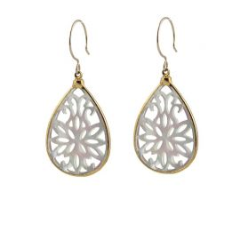 Scrollwork Mother of Pearl Earrings at Peggy Li