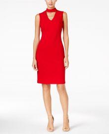 Scuba Crepe Choker Sheath Dress by Calvin Klein at Macys