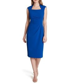 Scuba Crepe Square Neck Cap Sleeve Side Ruched Dress by Tahari ASL at Dillards
