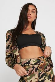 Scuba Printed Mock Neck Zip-Up Long Sleeve at Urban Planet