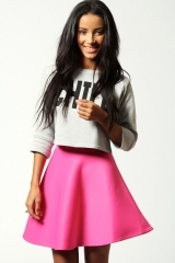 Scuba skirt in pink at Boohoo