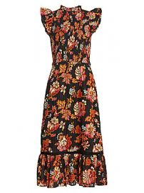 Sea - Pascale Smocked Midi Dress at Saks Fifth Avenue