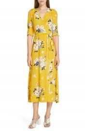 Sea Pia Floral Faux Wrap Midi Dress   Nordstrom at Nordstrom