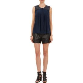 Sea Sleeveless Top with Leather Panels at Barneys