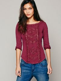 Seafoam Truly Madly Deeply Lace top in wine at Free People