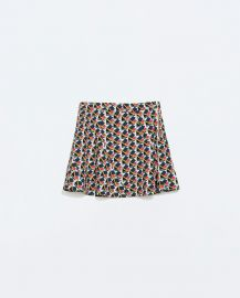 Seamed Printed Mini Skirt at Zara