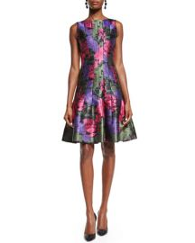Seamed fit and flare dress by Oscar de la Renta at Neiman Marcus