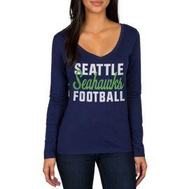Seattle Seahawks Navy Blitz 2 Hit Long Sleeve V-Neck T-Shirt at NFL Shop