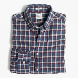 Secret Wash shirt in heather poplin plaid at J. Crew