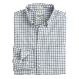 Secret Wash shirt in stone blue gingham in grey at J. Crew