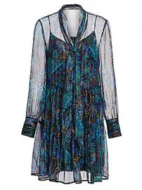 See by Chlo   - Floral Tie-Neck Chiffon-Silk Long-Sleeve Mini Shirtdress at Saks Fifth Avenue