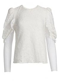 See by Chlo   - Lace Sheer Sleeve Blouse at Saks Fifth Avenue